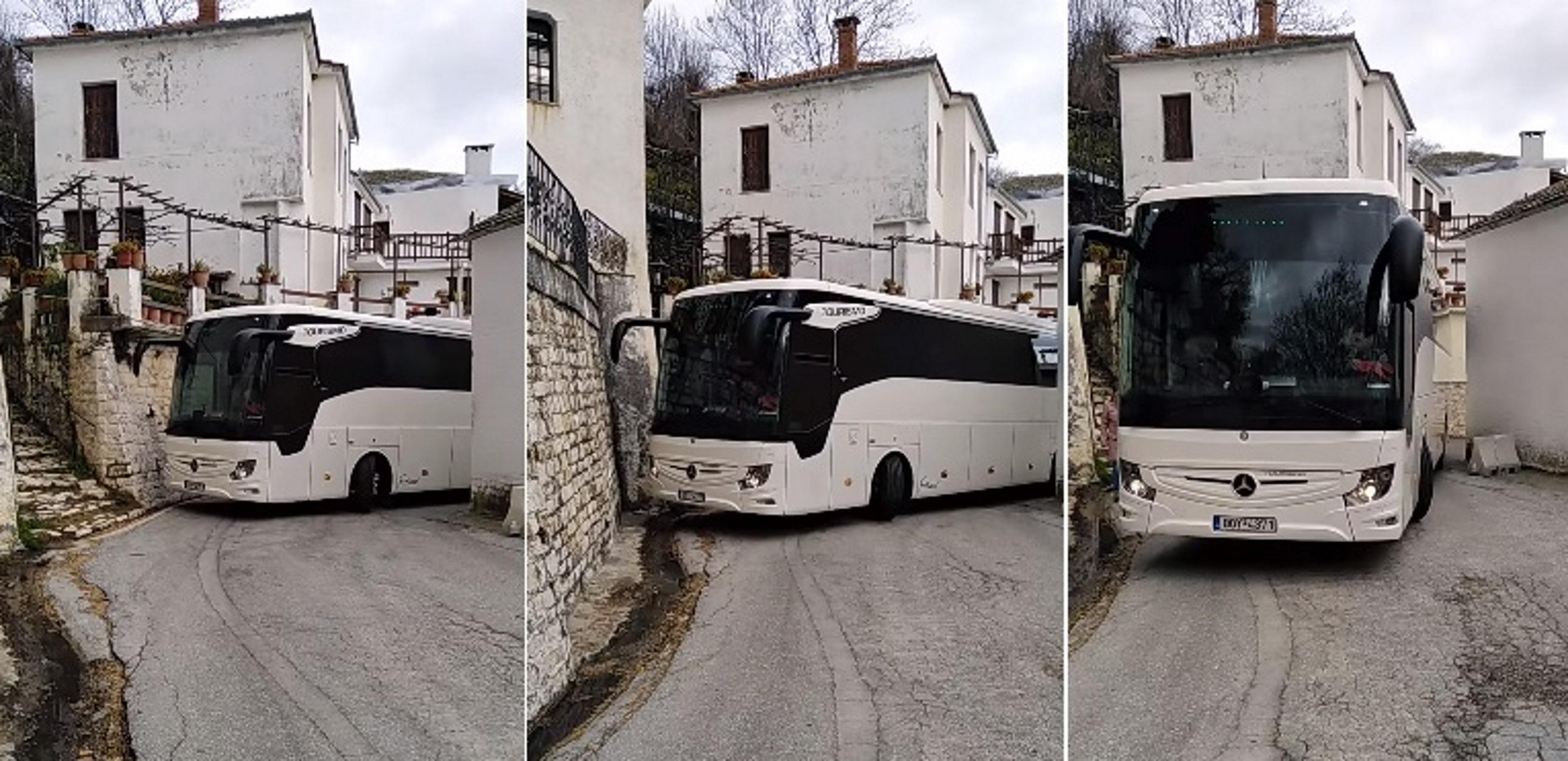 """""""Τσακάλι"""" οδηγός ΚΤΕΛ! Περνάει με λεωφορείο ξυστά από τα σπίτια με ακρίβεια χιλιοστού [pics, video]"""