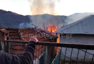 Κάηκαν σπίτια στη Βράχα Ευρυτανίας