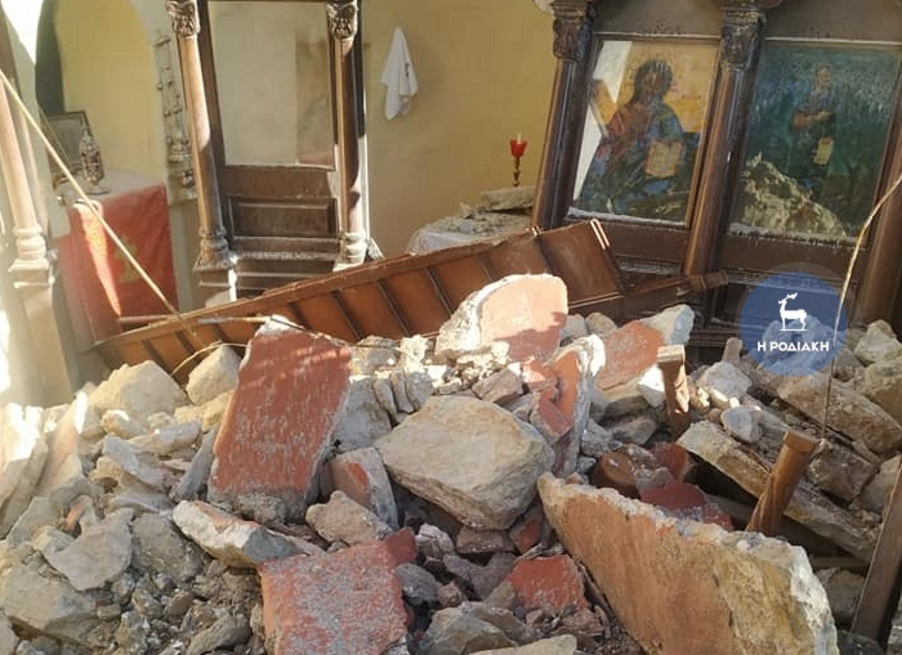 Σύμη: Κατολίσθηση διέλυσε ιστορικό μοναστήρι! Οι βράχοι σταμάτησαν μπροστά στην Αγία Τράπεζα [pics, video]