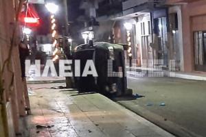 Ηλεία: Αυτοκίνητο έκοψε κολώνα φωτισμού και διέλυσε καφενείο! Δύο σοβαρά τραυματίες στο τροχαίο [pics, video]