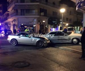 Βέροια: Σφοδρή σύγκρουση αυτοκινήτων στο κέντρο της πόλης