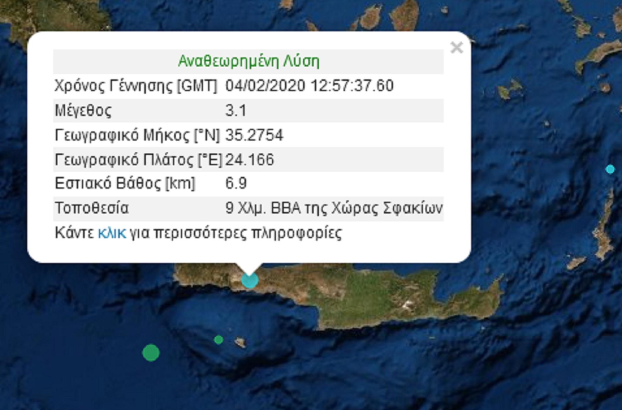 Σεισμός 3,1 Ρίχτερ στα Σφακιά