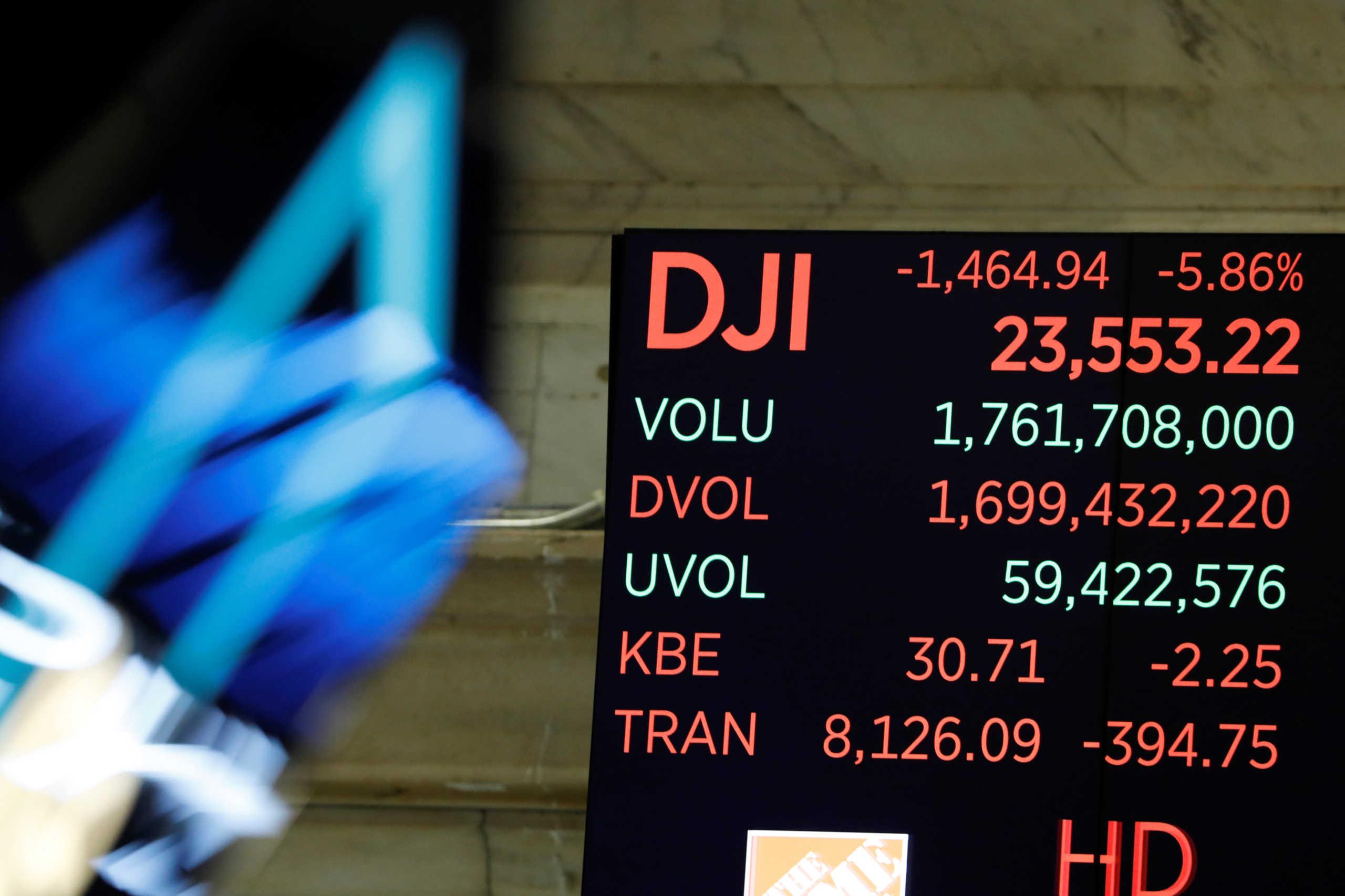 Καταποντίστηκε η Wall Street! Με απώλειες 4,55% έκλεισε ο Dow Jones