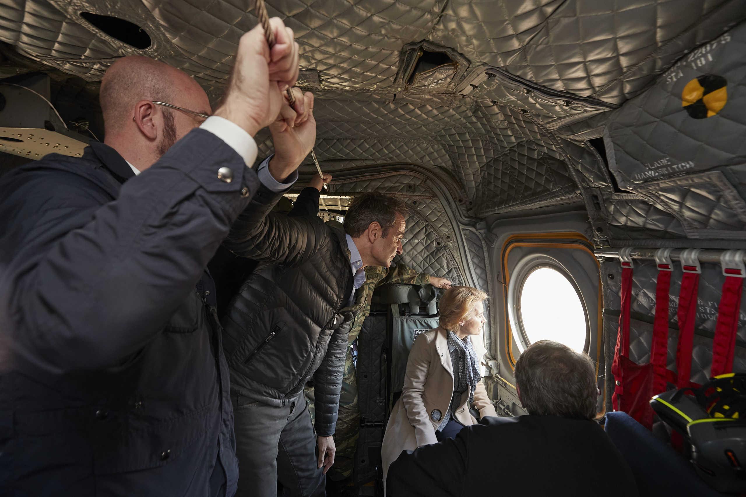 Στην Ελλάδα η ηγεσία της ΕΕ! Πτήση με ελικόπτερο πάνω από τα σύνορα