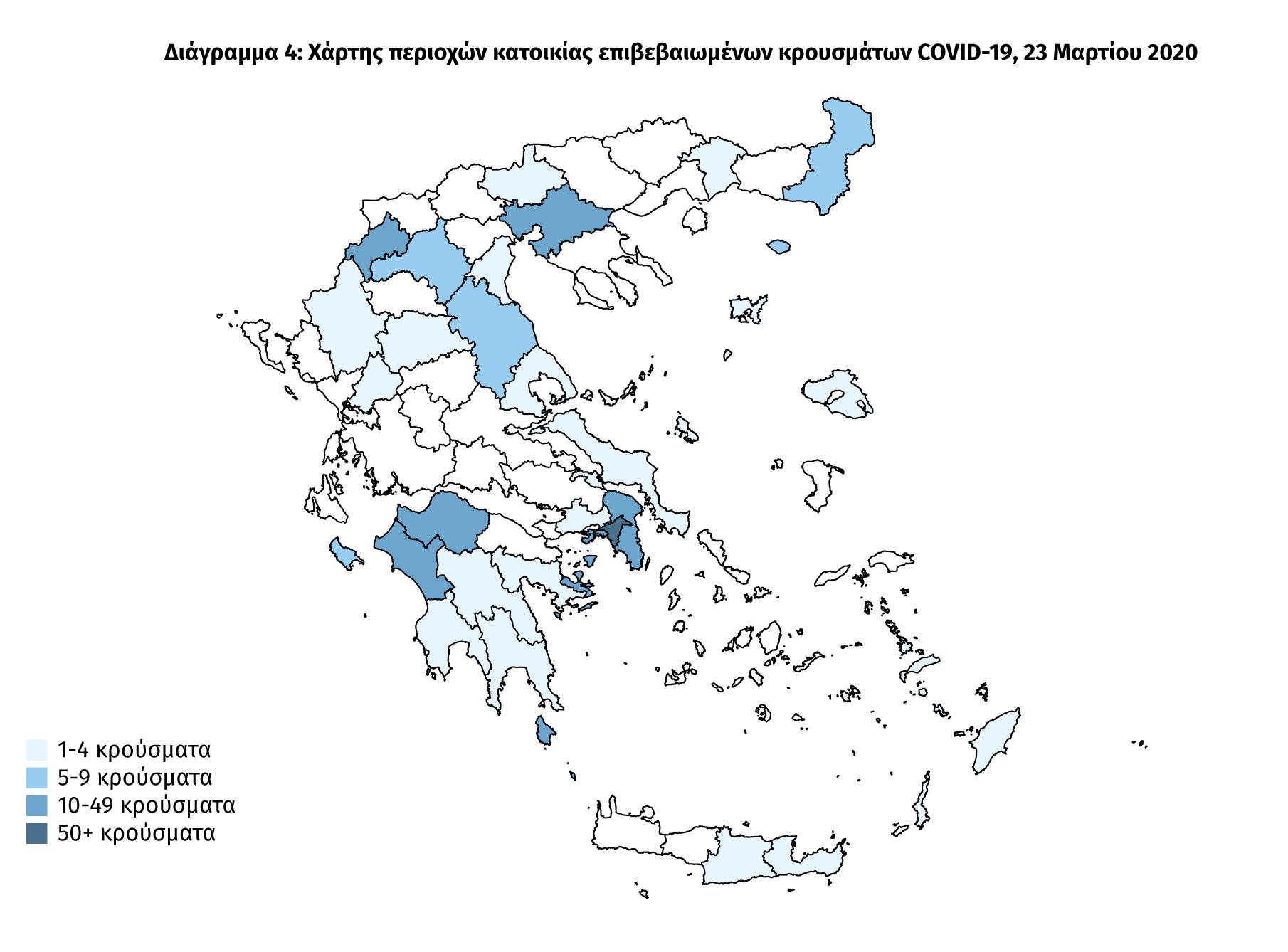 Κορονοϊός: Αυτός είναι ο χάρτης της πανδημίας στην Ελλάδα