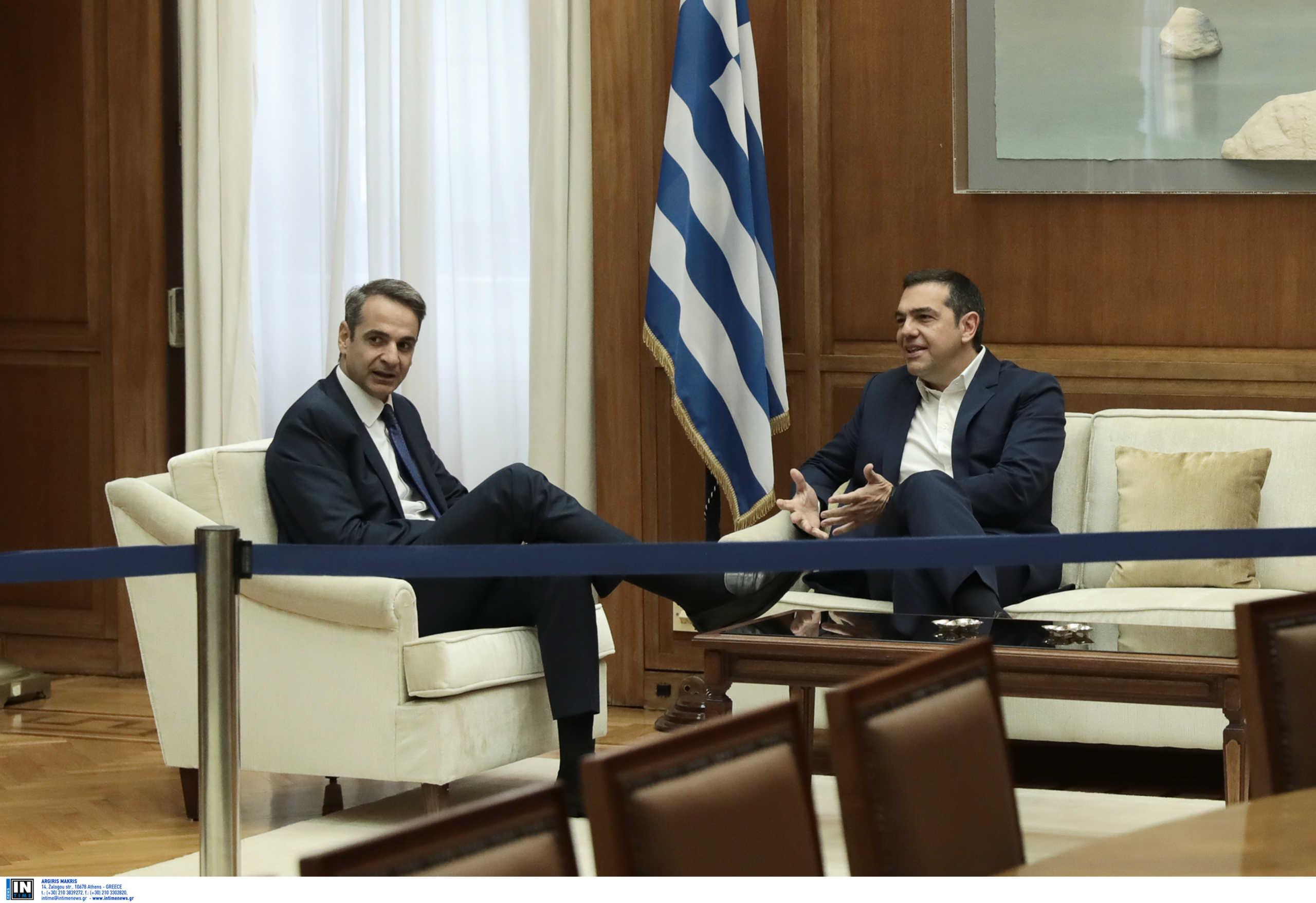 """Συνάντηση Τσίπρα – Μητσοτάκη για τα ελληνοτουρκικά σε """"βαρύ"""" κλίμα λόγω Παπαγγελόπουλου"""