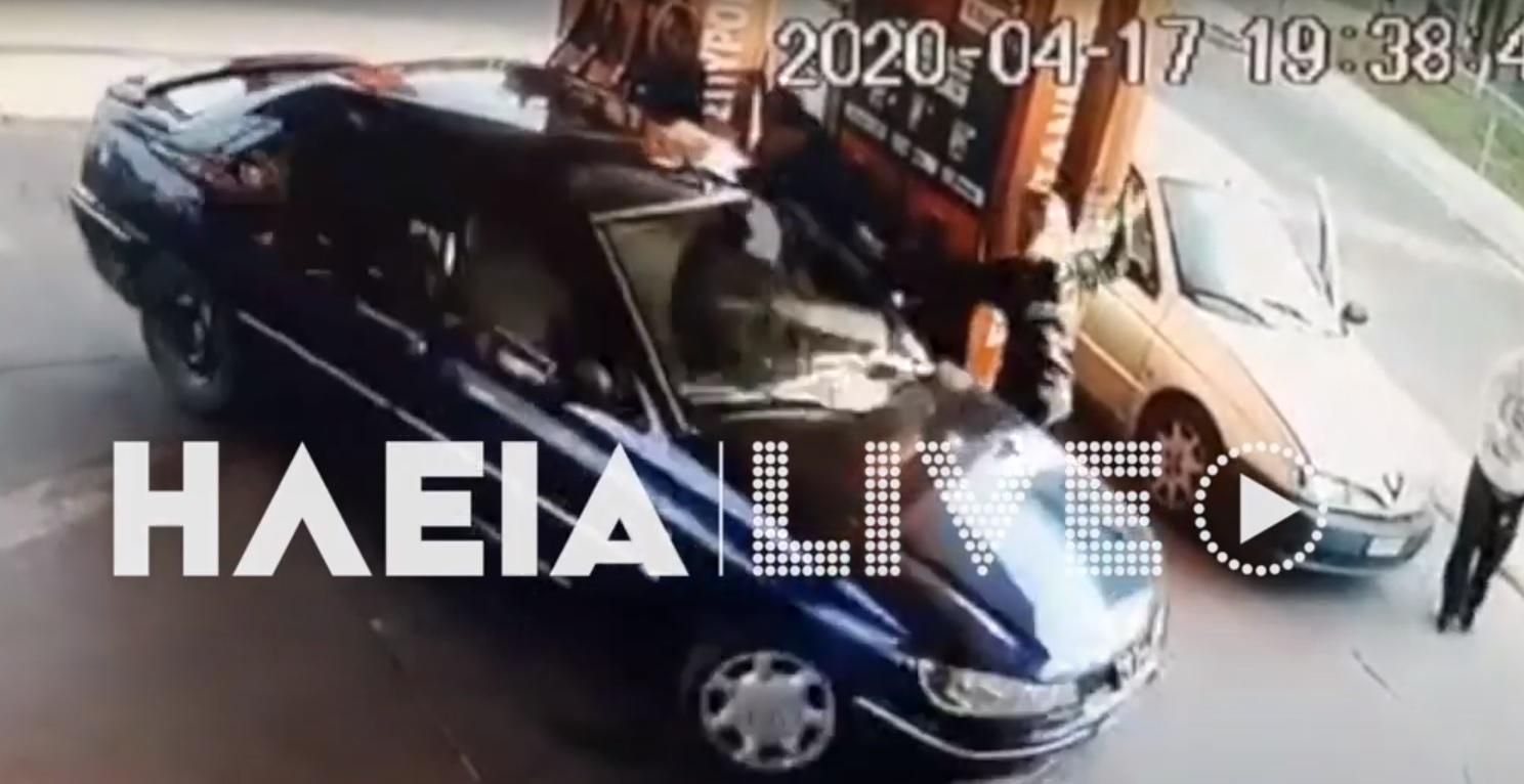 Πύργος: Η στιγμή που αρνείται να πληρώσει και πατάει τον ιδιοκτήτη του βενζινάδικου (Βίντεο ντοκουμέντο)