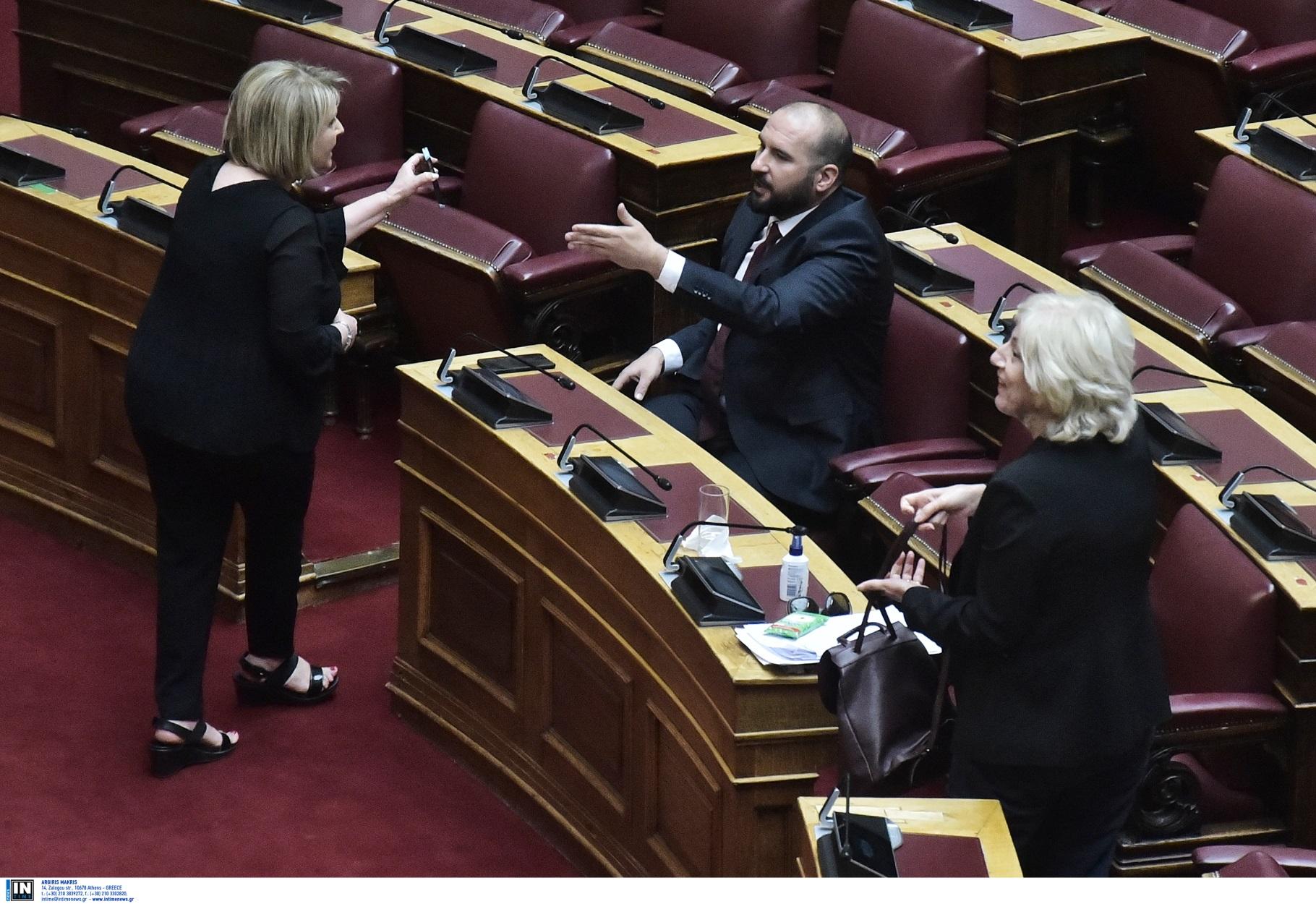 """Χοντρός καυγάς Βούλτεψη – Τζανακόπουλου στη Βουλή: Γιατί η """"γαλάζια"""" βουλευτής έδειχνε φωτογραφία Τσίπρα – Όρμπαν (pics)"""