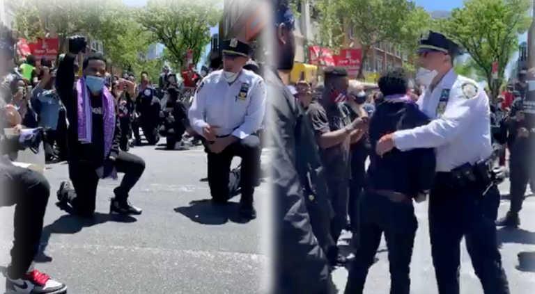 Συγκλονίζουν οι εικόνες από τη Νέα Υόρκη - Αστυνομικοί γονατίζουν μαζί με τους διαδηλωτές (video)
