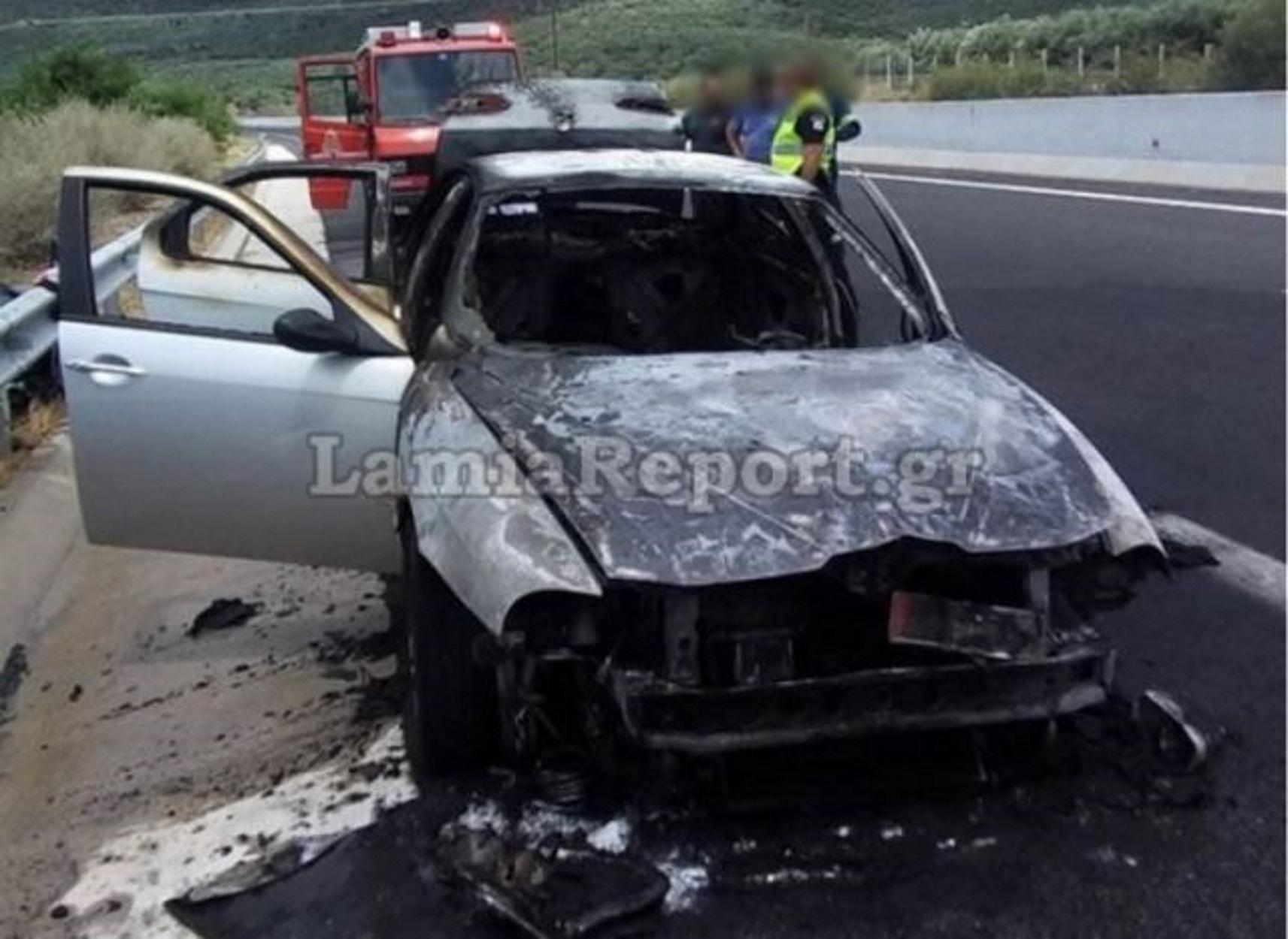 """Στυλίδα: Λαμπάδιασε αυτοκίνητο στην εθνική οδό – Έγινε… """"κάρβουνο"""" (pics)"""
