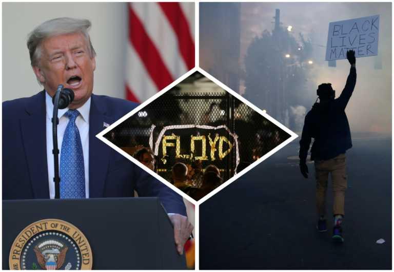 """ΗΠΑ: Ο Τραμπ """"ουρλιάζει"""", οι διαδηλωτές πεισμώνουν – Στρατός στους δρόμους, συγκρούσεις και μια χώρα στις """"φλόγες"""""""