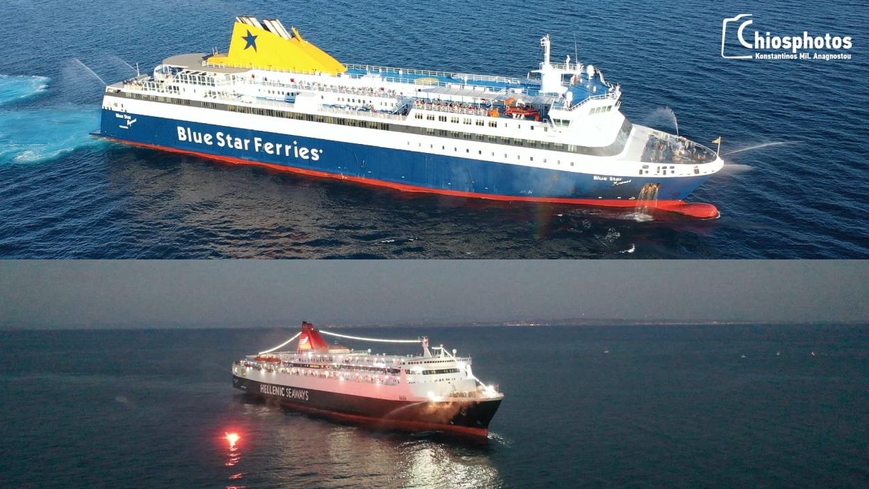 Χίος: Οι μανούβρες και η απόδοση τιμών στην Αγία Παρασκευή από δυο καπετάνιους