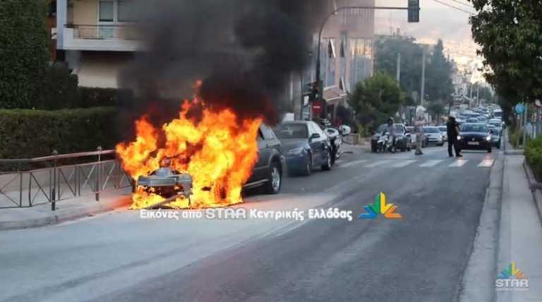 Γαλάτσι: Η στιγμή που αυτοκίνητο με καύσιμο υγραέριο τυλίγεται στις φλόγες! Φωτιά και εκρήξεις στην κάμερα (Βίντεο)