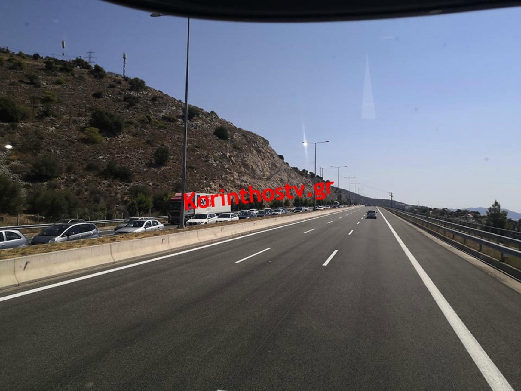 Τροχαίο στην Εθνική Οδό Αθηνών – Κορίνθου! Ουρές χιλιομέτρων (pics)
