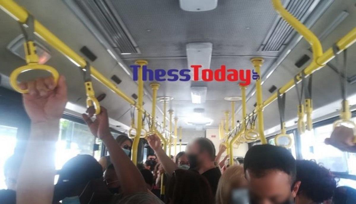 Στη Θεσσαλονίκη του κορονοϊού στοιβάζουν σα σαρδέλες τους επιβάτες στα λεωφορεία (pics)