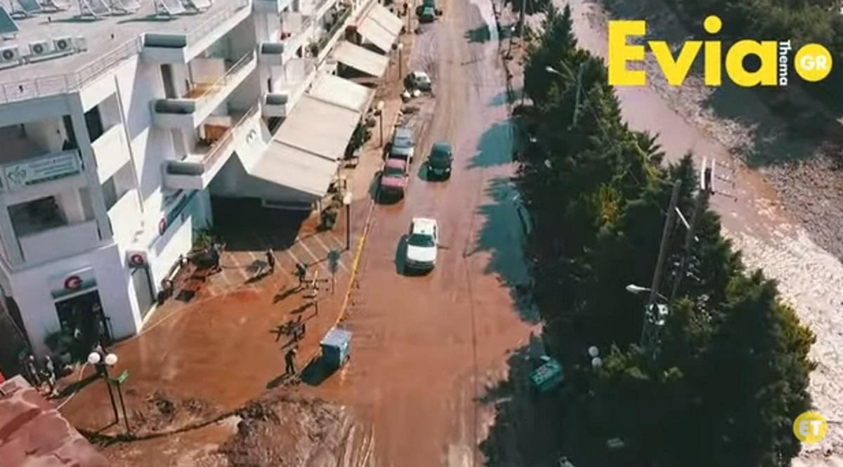 Τα Ψαχνά από ψηλά μετά την καταστροφή (video)