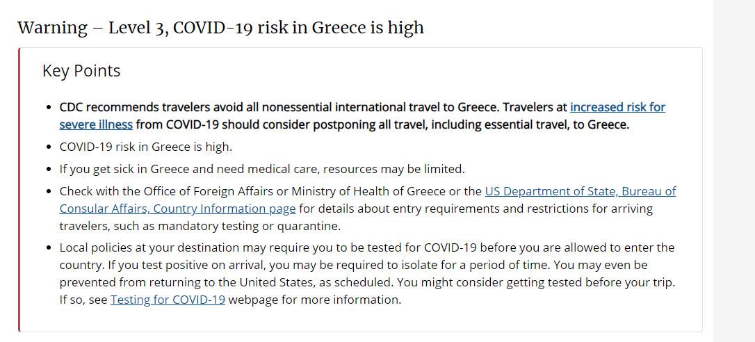 """ΕΚΤΑΚΤΟ! Μπλόκο απο τις ΗΠΑ στην Ελλάδα-""""Μην πηγαίνετε λόγω κορονοϊού""""!"""