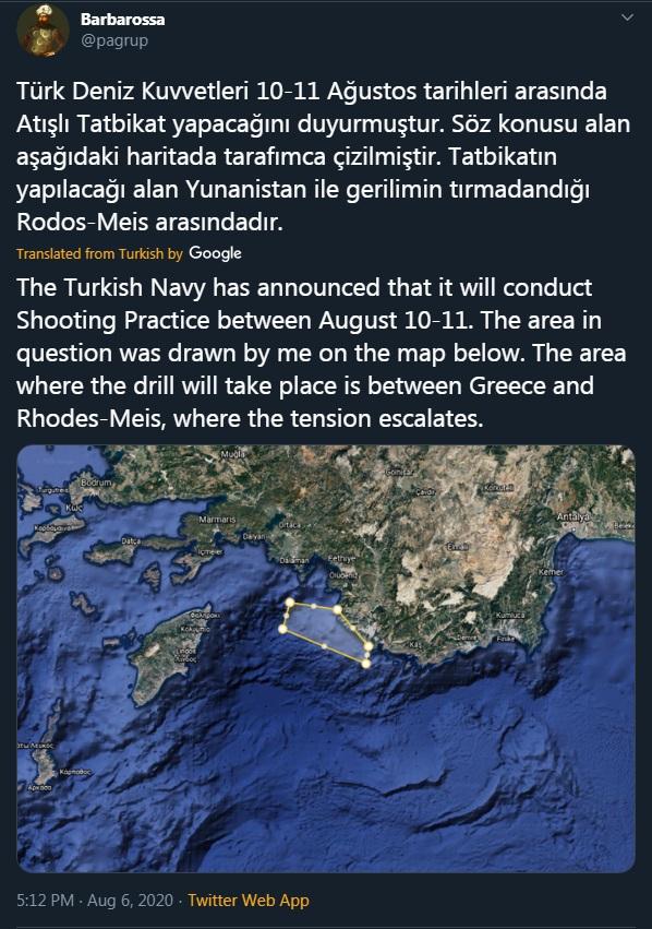 Τουρκία: Έκτακτη άσκηση με πραγματικά πυρά κοντά στο Καστελόριζο