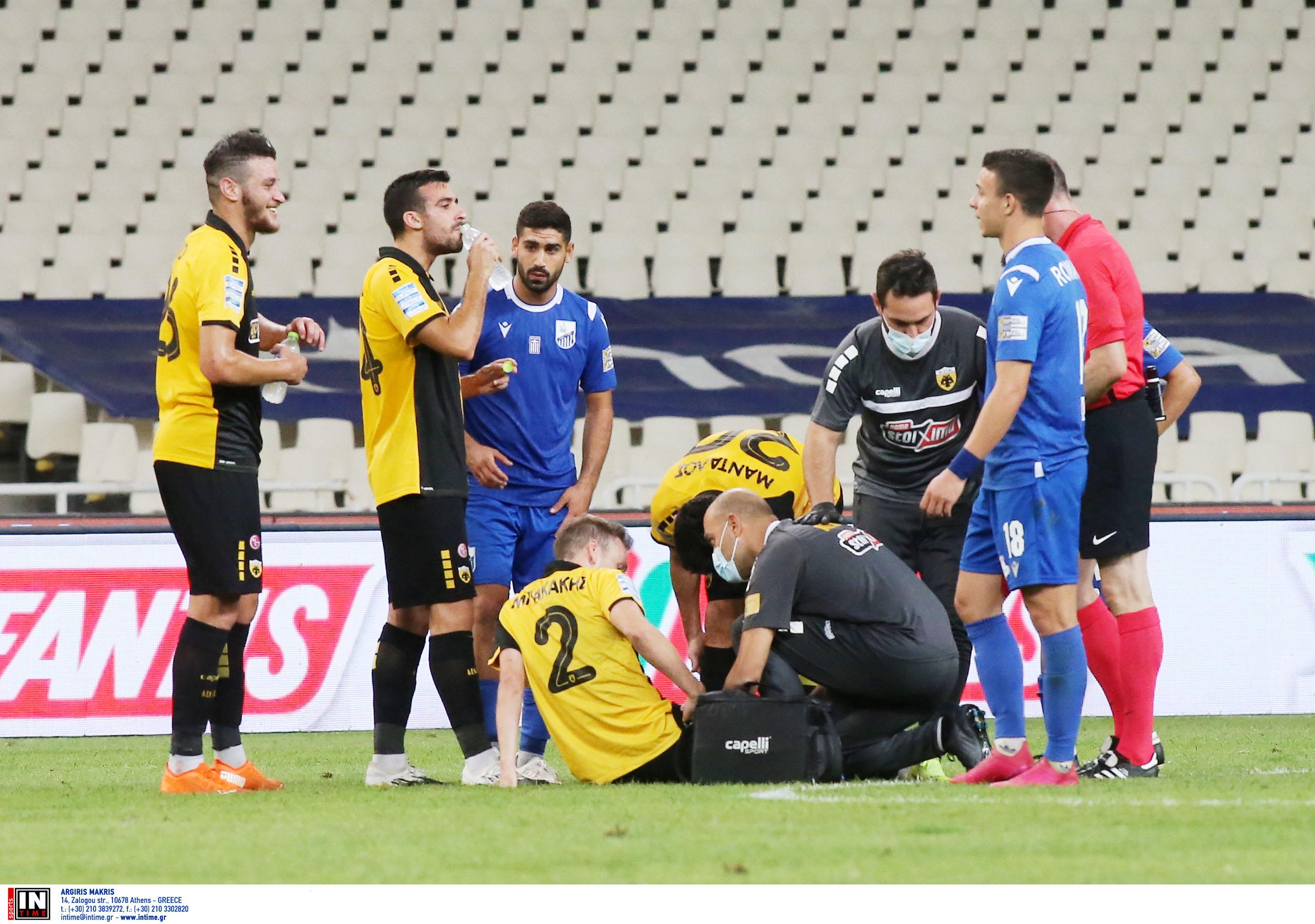 ΑΕΚ: Αποχώρησαν τραυματίες Μπακάκης και Μαχαίρας