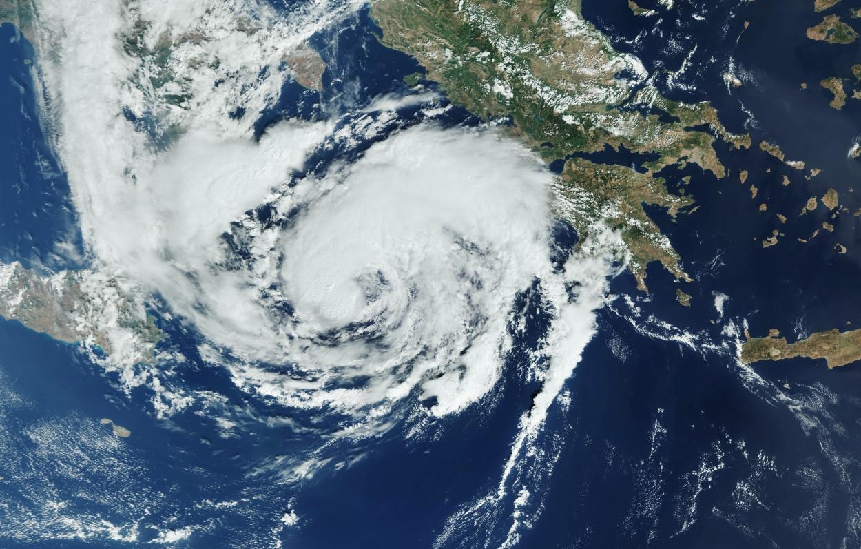 Ο Ιανός «κατάπιε» τα Ιόνια νησιά – Φωτογραφία από δορυφόρο