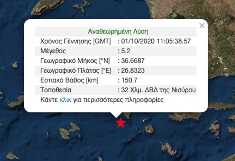 Ισχυρός σεισμός 5,2 ρίχτερ ανοιχτά της Νισύρου