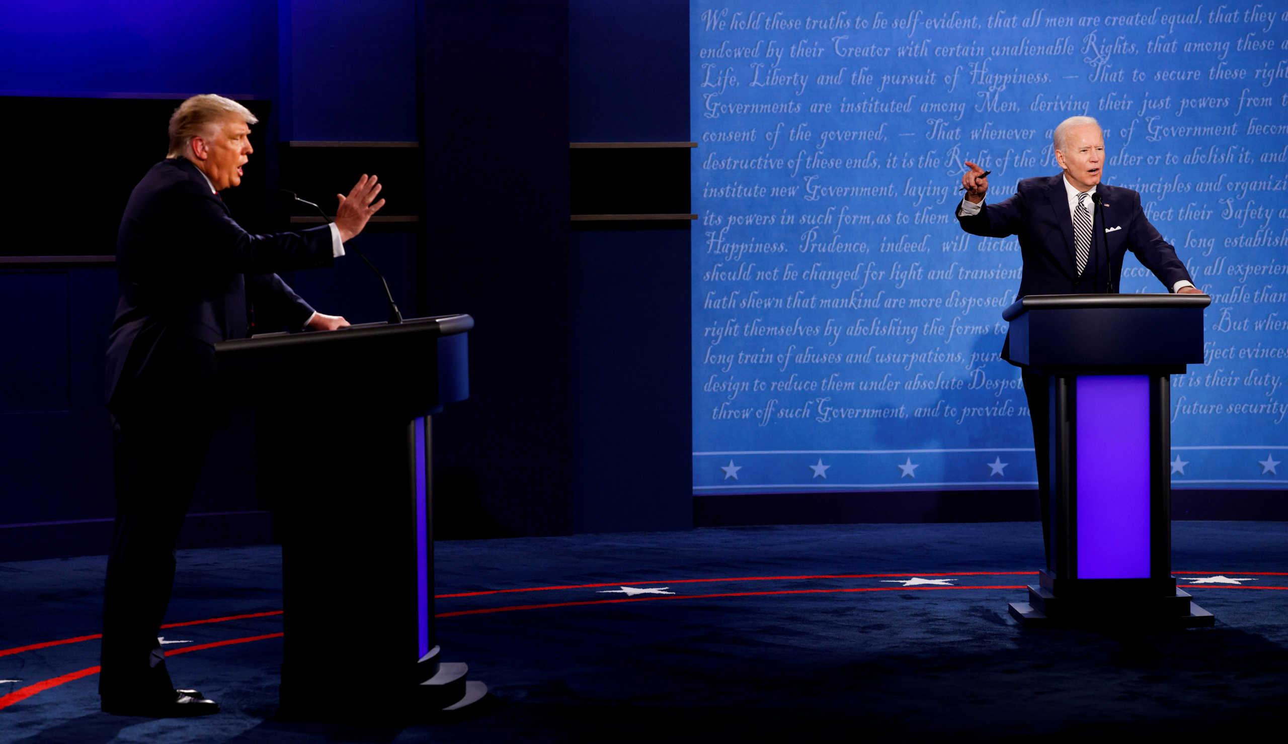 Ντόναλντ Τραμπ και Τζο Μπάιντεντ στο ντιμπέιτ για τις αμερικανικές εκλογές