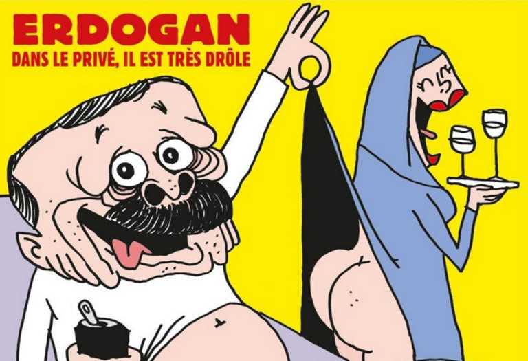 Ανάβει φωτιές το Charlie Hebdo! Ο Ερντογάν με το… εσώρουχο «ξεγυμνώνει» μια μουσουλμάνα!