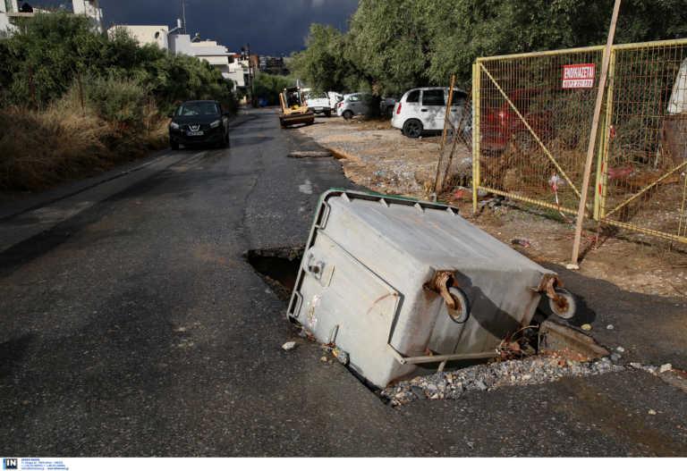 Ηράκλειο: Έριξαν κάδο σκουπιδιών για να κλείσουν αυτή την τεράστια λακκούβα! Δείτε τις εικόνες (Φωτό)