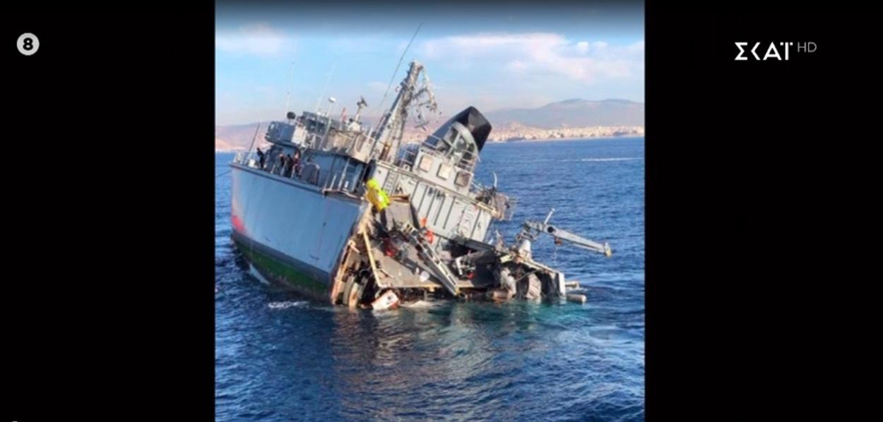 Συγκλονιστικές εικόνες από το πλοίο του Πολεμικού Ναυτικού που συγκρούστηκε με εμπορικό – Δυο τραυματίες
