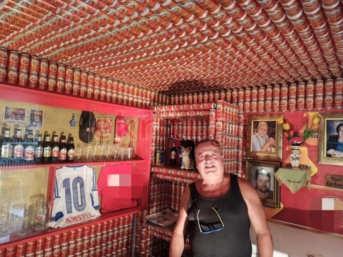 """Κρητικός """"έντυσε"""" με κουτάκια μπύρας ένα ολόκληρο δωμάτιο! (pics)"""