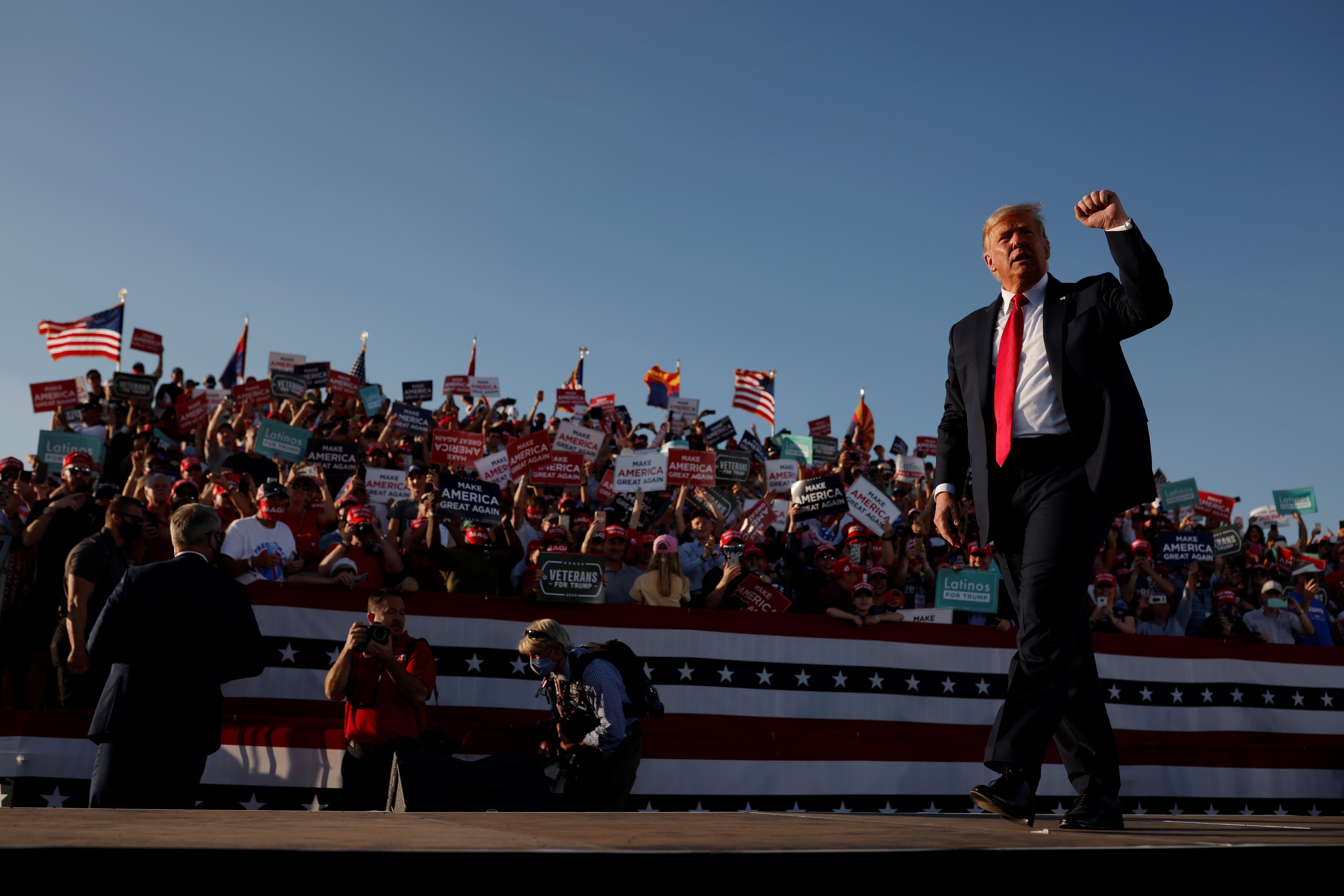Ο πρόεδρος των ΗΠΑ Ντόναλντ Τραμπ σε προεκλογική συγκέντρωση