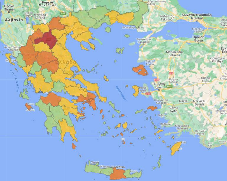 """Αλλάζει ο """"χάρτης"""" του κορονοϊού: Ποιές περιοχές είναι """"κόκκινες"""" και """"πορτοκαλί"""" – Όλα τα μέτρα"""