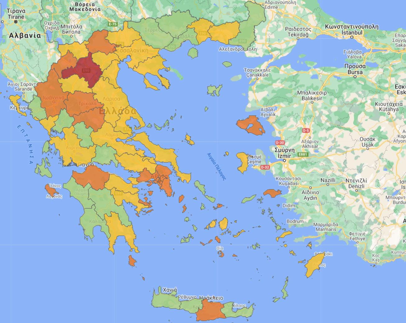 κορονοϊός χάρτης Ελλάδας