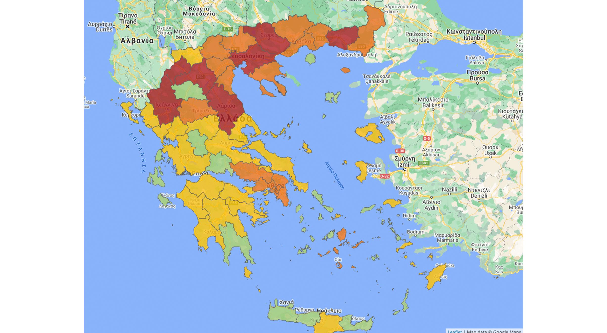 χάρτης κορονοϊός