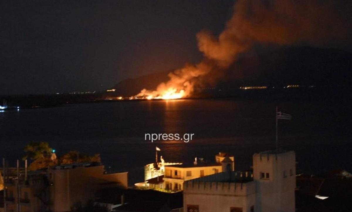 Μεγάλη φωτιά στη Ναύπακτο (video)