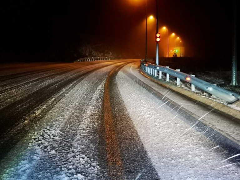 Κομοτηνή: Χιονόπτωση στον αυτοκινητόδρομο Νυμφαίας – Βουλγαρίας (pics)