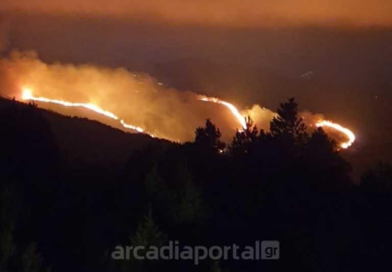 Φωτιά στην Αρκαδία: Ολονύχτια μάχη με τις φλόγες (video)