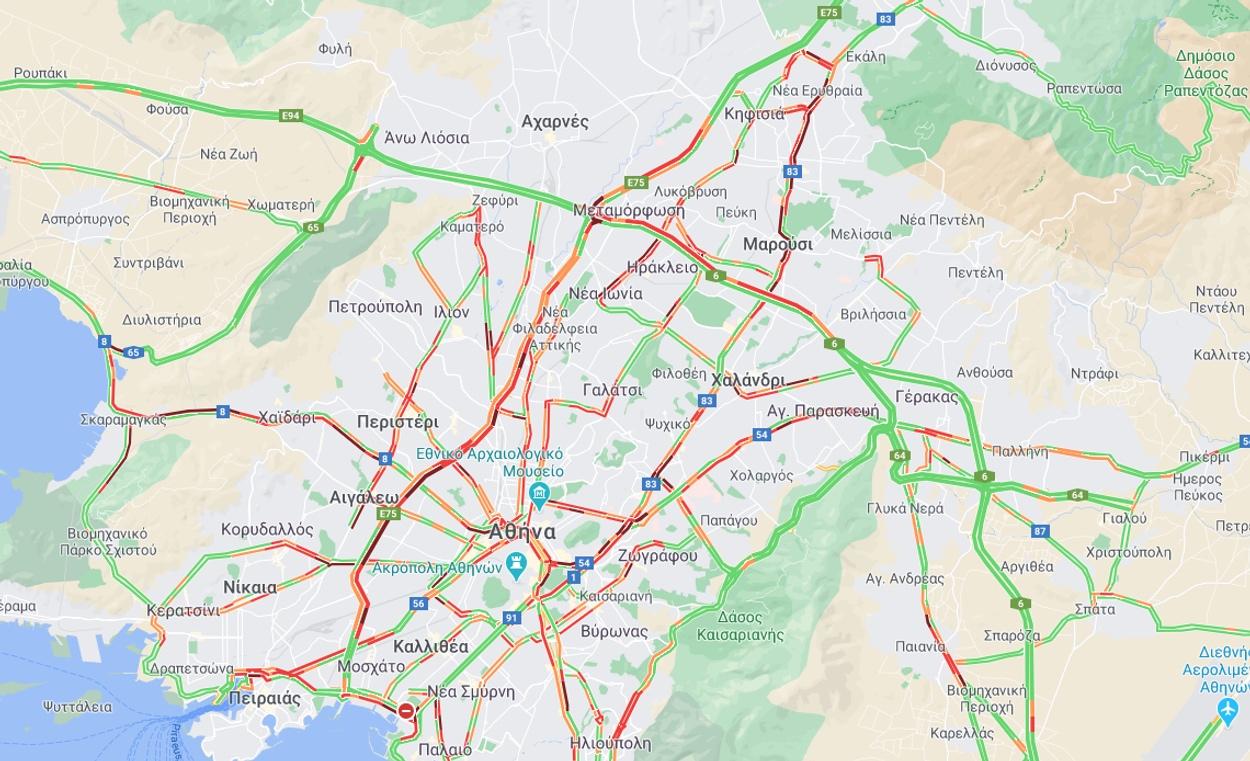 χάρτης κίνηση στους δρόμους