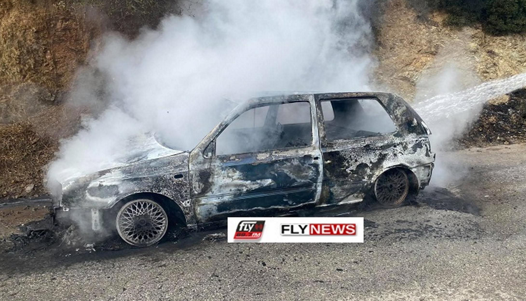 Λακωνία: Αυτοκίνητο λαμπάδιασε εν κινήσει (pics)