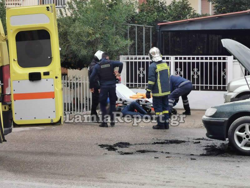 Λαμία: Φωτιά σε αυτοκίνητο από διαρροή υγραερίου! Βγήκε και λιποθύμησε ο οδηγός του (Φωτό)