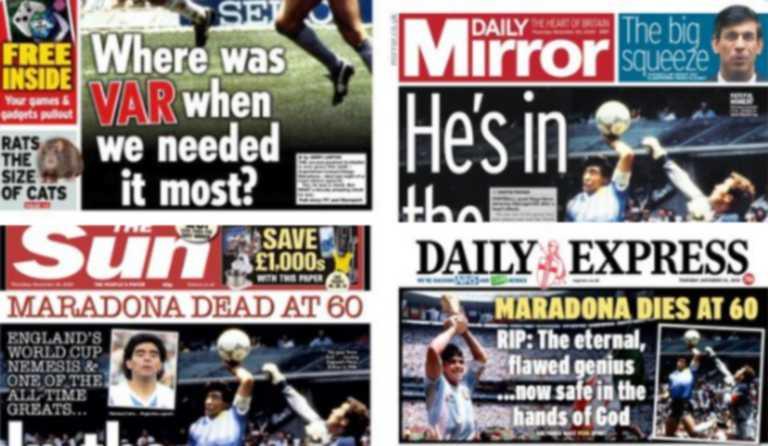Ντιέγκο Μαραντόνα: Κομπλεξικοί! Τα πρωτοσέλιδα των Άγγλων είχαν μέχρι και VAR (pics)