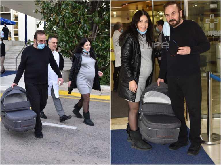Σταμάτης Γονίδης: Οι πρώτες φωτογραφίες με την σύζυγό του μετά την έξοδο από το μαιεύτήριο