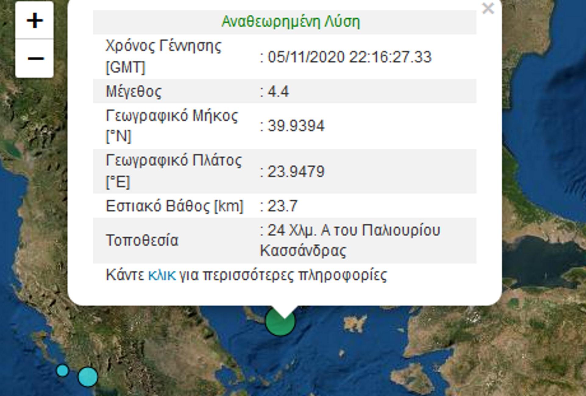 σεισμός τη Χαλκιδική