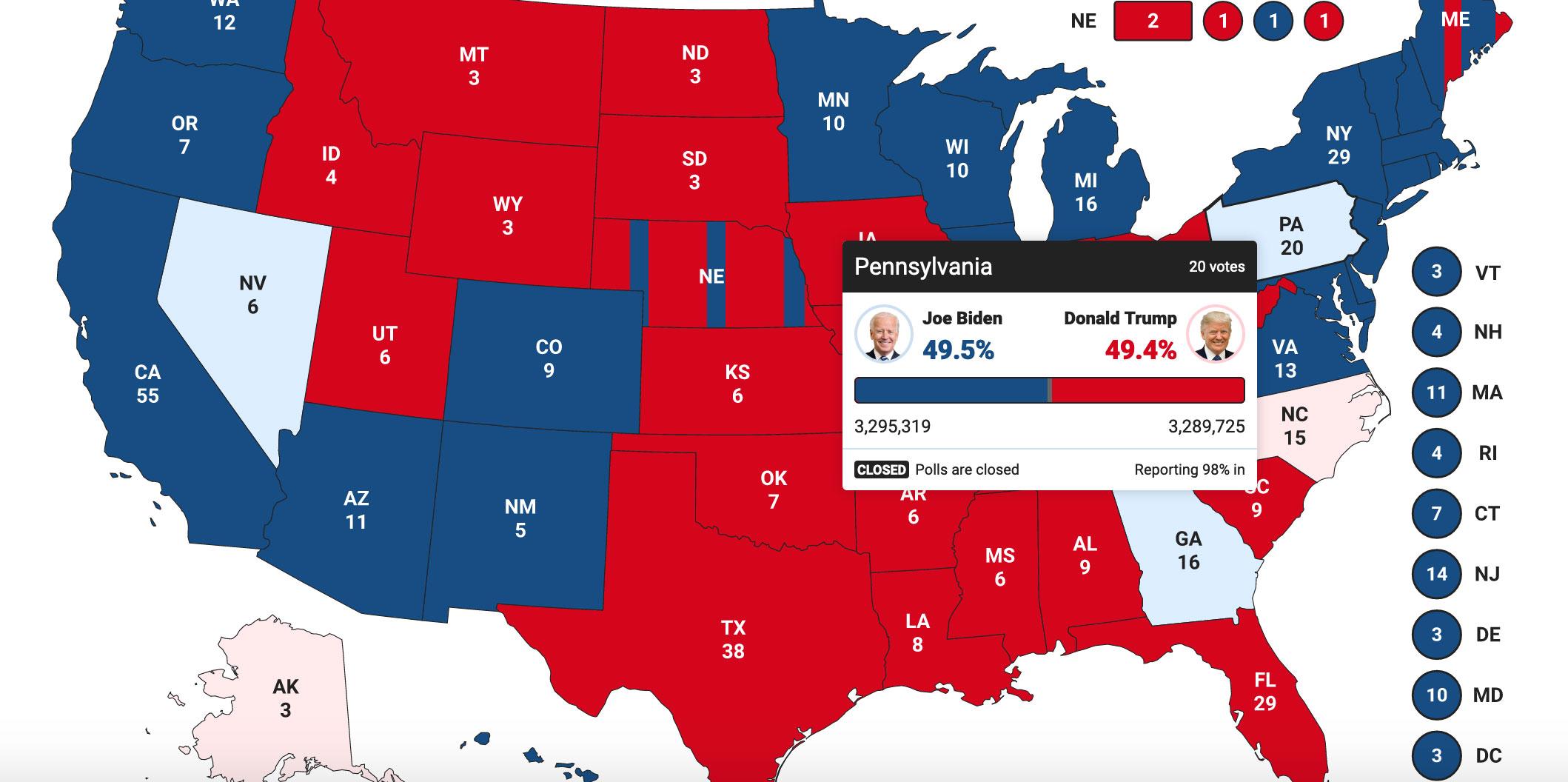 χάρτης αμερικανικές εκλογές