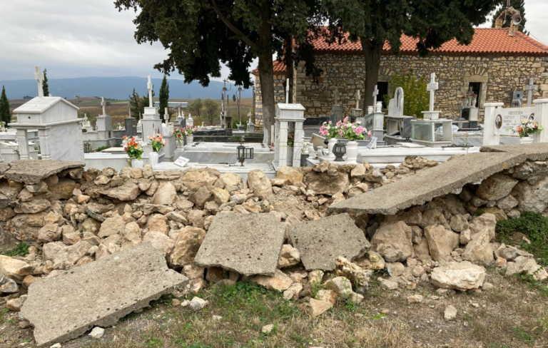 Σεισμός στη Θήβα: Ζημιές σε νεκροταφείο από τα 4,4 Ρίχτερ