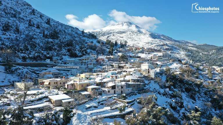 Χίος: Εντυπωσιακές εικόνες από τα αποκλεισμένα χωριά λόγω της κακοκαιρίας (video)