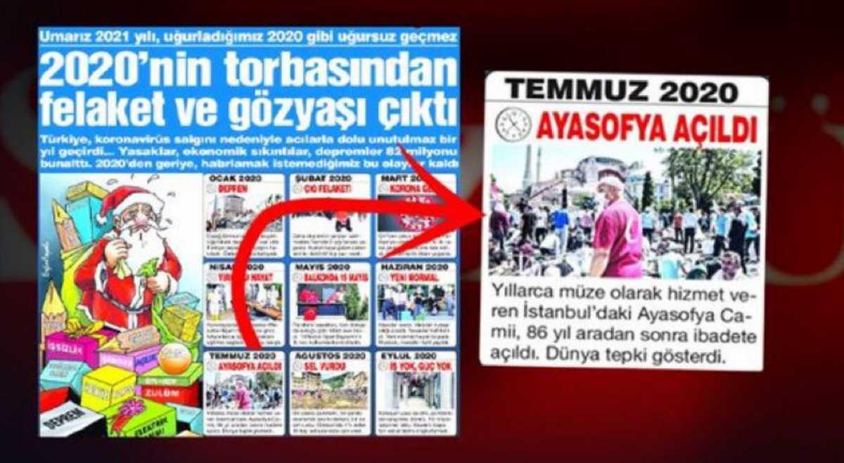 Σάλος με την εφημερίδα Sozcu: Το άνοιγμα της Αγιάς Σοφιάς στις καταστροφές του 2020