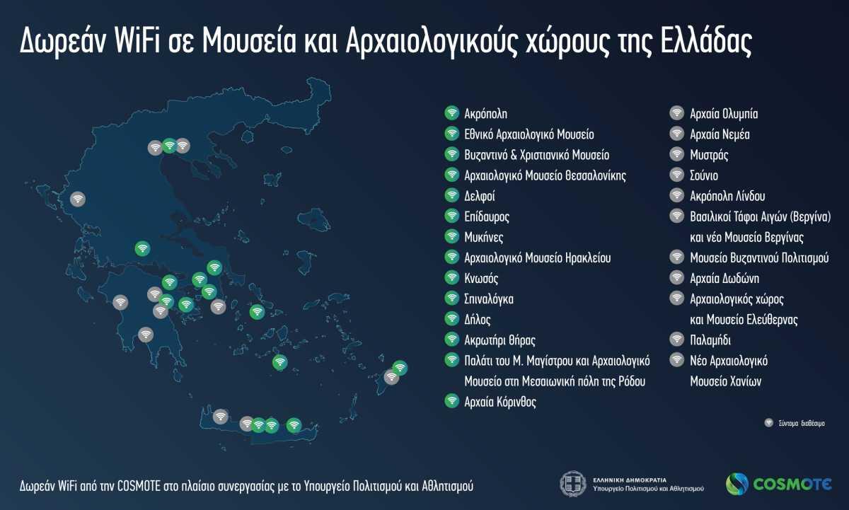 Δωρεάν WiFi σε 25 αρχαιολογικούς χώρους και μουσεία – Αναλυτικός πίνακας- Σύντομα και στην Αρχαία Ολυμπία