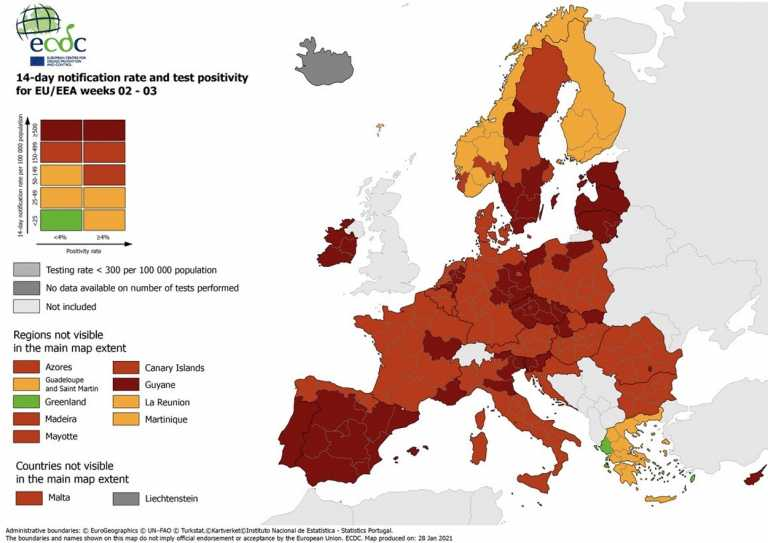 ECDC: Στις τρεις πορτοκαλί χώρες της Ευρώπης η Ελλάδα – Πράσινη στον δείκτη θετικότητας