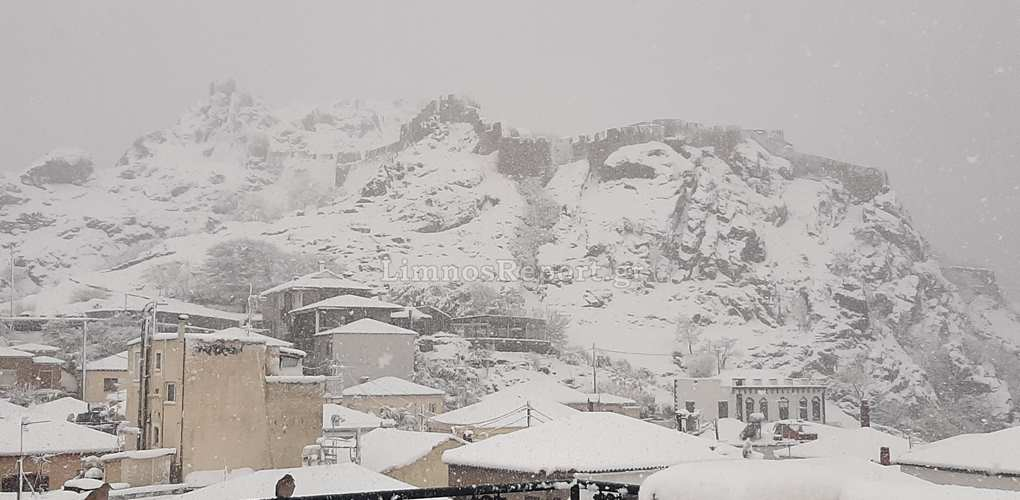 Καιρός – Λήμνος: Λευκή Πέμπτη στο νησί με χιόνια και τσουχτερό κρύο – Δείτε τις εικόνες (video)